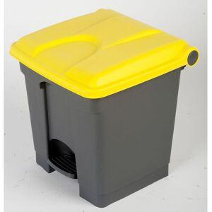 CERTEO Collecteur de déchets à pédale, en plastique - h x l x p 435 x 410 x 400 mm, 30 l - gris, couvercle jaune - Coloris poubelle: Gris