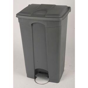 PROBBAX Collecteur de déchets à pédale, en plastique - h x l x p 790 x 505 x 410 mm, 90 l - gris - Coloris poubelle: Gris Coloris du couvercle: Gris