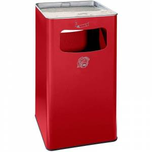 CERTEO Combiné cendrier-poubelle avec cendrier à remplir de sable - h x l x p 755 x 430 x 430 mm - rouge feu - Coloris poubelle: rouge feu