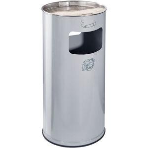 CERTEO Combiné cendrier-poubelle avec cendrier à remplir de sable - hauteur 700 mm, Ø 320 mm - argent - Coloris poubelle: argent