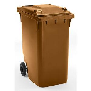 CERTEO Conteneur à déchets en plastique à fermeture par gravité - capacité 360 l, h x l x p 1100 x 600 x 874 mm, Ø roues 200 mm - Coloris poubelle: Marron