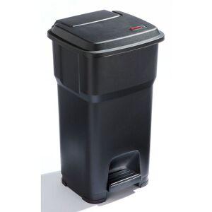 CERTEO Rothopro Collecteur de déchets à pédale, en plastique - capacité 60 l - noir - Coloris poubelle: noir Coloris du couvercle: noir