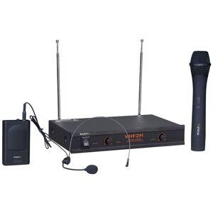 IBIZA Ensemble de microphones sans fil karaoké professionnel Dj récepteur 2 canaux microphone sans fil système de casque sans fil Ibiza VHF2H