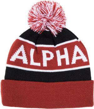 Alpha Industries Block Bobble Beanie Noir Rouge taille : unique taille