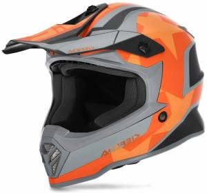 Acerbis Steel Stars Casque de motocross pour enfants Gris Orange taille : M