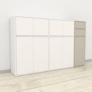 MYCS Enfilade - Blanc, design, buffet, avec porte Blanc et tiroir Taupe - 190 x 118 x 35 cm