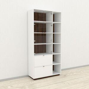 MYCS Vitrine - Noyer, design, pour documents, avec porte Verre clair transparent et tiroir Blanc - 116 x 239 x 47 cm