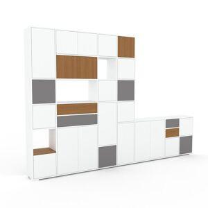 MYCS Placard - Blanc, moderne, rangements, avec porte Blanc et tiroir Chêne - 344 x 235 x 35 cm