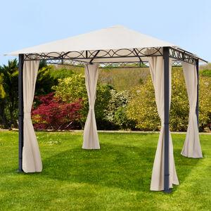 Intent24.fr Tonnelle de jardin 3x3m PES pelliculé PU 220 g/m² champagne imperméable