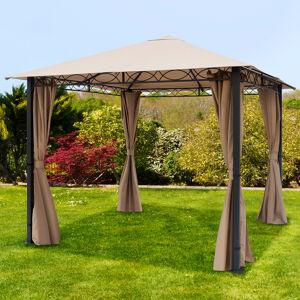 Intent24.fr Tonnelle de jardin 3x3m PES pelliculé PU 220 g/m² taupe imperméable