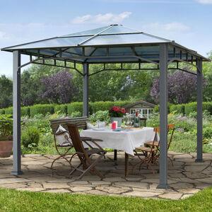 Intent24.fr Tonnelle de jardin 3x3m plaque polycarbonate 8 mm Gris imperméable