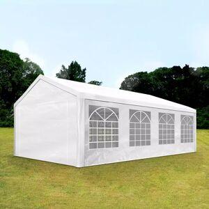 Intent24.fr Tente de réception 4x8m PE 180g/m² blanc imperméable barnum, chapiteau