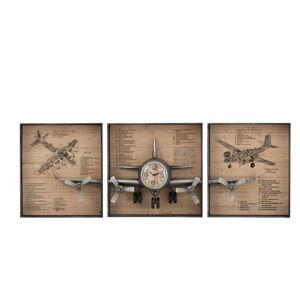 Horloge avion 3 parties 207x12x75 cm décor avions