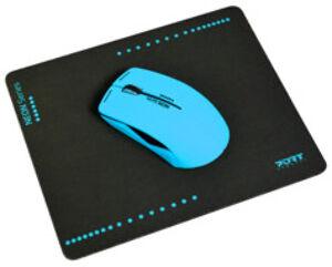 PORT Connect Souris optique sans fil Neon avec tapis - Bleu