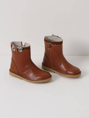 CYRILLUS Boots en cuir et tissu Liberty fille camel/liberty poppy & forest taille: 27