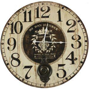 Décoration d'Autrefois Horloge Ancienne Balancier Au Bon Ménage 58cm - Bois - Blanc