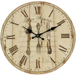 Décoration d'Autrefois Horloge Ancienne Murale Bon Appétit 34cm - Bois - Blanc