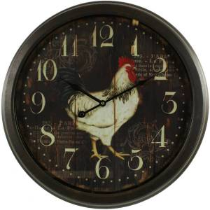 Décoration d'Autrefois Horloge Ancienne Murale Coq 58cm - Fer - Noir