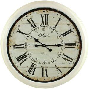 Décoration d'Autrefois Grande Horloge Ancienne Murale Paris 1807 70cm - Fer - Blanc