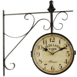 Décoration d'Autrefois Horloge De Gare Ancienne Double Face Café De La Gare Paris 24cm - Fer Forgé - Blanc