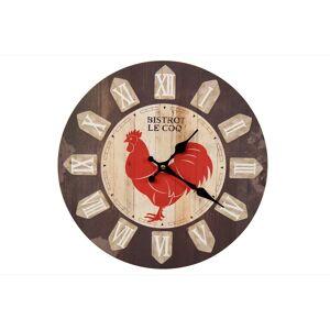 Décoration d'Autrefois Horloge Ancienne Murale Bistrot le Coq 34cm - Bois - Marron