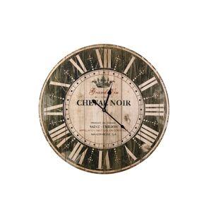 Décoration d'Autrefois Horloge Ancienne Murale Grand Vin Cheval Noir Marron 58cm - Bois
