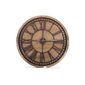 Décoration d'Autrefois Grande Horloge Ancienne Bois Métal Marron 76x3x76cm
