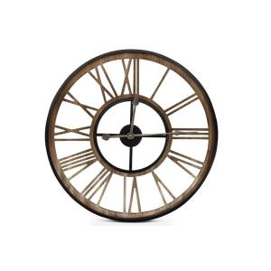 Décoration d'Autrefois Grande Horloge Ancienne Fer Forge Marron 60x3x60cm