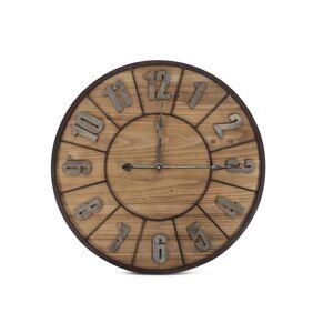 Décoration d'Autrefois Grande Horloge Ancienne Bois Métal Marron 60x3.5x60cm