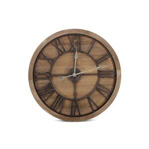 Décoration d'Autrefois Grande Horloge Ancienne Bois Métal Marron 60x3x60cm