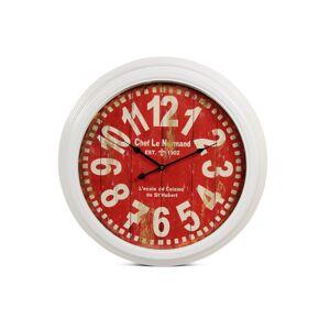 Décoration d'Autrefois Horloge Ancienne Murale Chef Le Normand Métal Rouge-Bordeaux 58cm