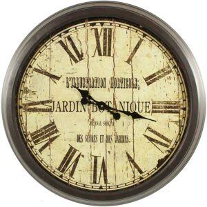 Décoration d'Autrefois Grande Horloge Ancienne Murale Jardin Botanique 70cm - Fer - Blanc