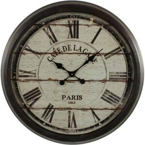 Décoration d'Autrefois Grande Horloge Ancienne Murale Café De La Gare 70cm - Fer - Noir