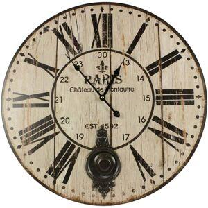 Décoration d'Autrefois Horloge Ancienne Balancier Paris Château De Monceau 58cm - Bois - Blanc