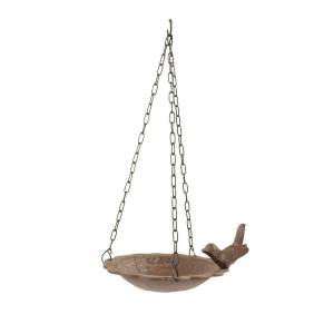 Décoration d'Autrefois Mangeoire Oiseau Suspendu Fonte - Marron