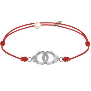 LES POULETTES BIJOUX Bracelet Lien en Argent 925 Petites Menottes - Rouge