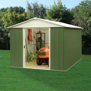 Yardmaster Abri de jardin métal vert 7,18m² + kit d'ancrage inclus - YARDMASTER