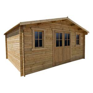 Gardy Shelter Abri en bois massif 19,8m² PLUS 28mm traité teinté marron Gardy Shelter
