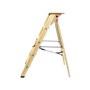 Lévi Echelle escabeau en bois 4 marches avec tablette