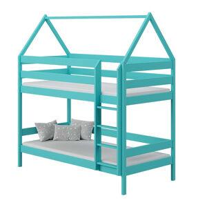 Petite Chambre Lit superposé cabane DOMEK pour chambre enfant   Turquoise   90 cm x 190 cm   Bois massif   petitechambre.fr