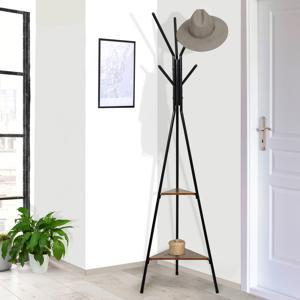 IDMarket Porte-manteau bois métal design avec plateaux