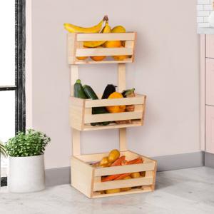IDMarket Corbeille à fruits et légumes en bois rangement 3 niveaux à poser ou suspendre
