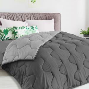 IDMarket Couette bicolore 200x200 gris foncé et gris clair