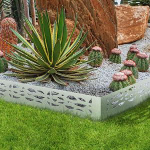 IDMarket Bordurette de jardin x5 acier ajouré flexible L. 5 x H. 0.18 M