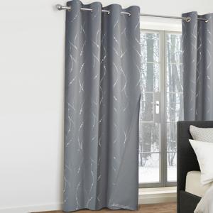 IDMarket Lot de 2 rideaux thermiques gris anthracite motif courbe 140x240 cm