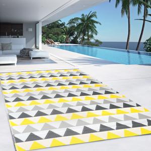 IDMarket Tapis extérieur SARI triangles gris et jaune 180 x 280 CM