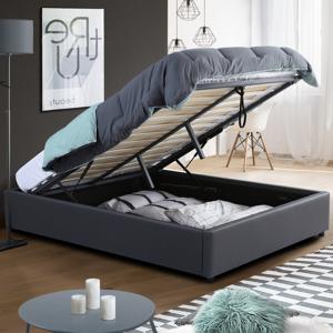 IDMarket Sommier coffre de rangement 160x200 cm gris