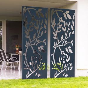 IDMarket Claustra extérieur métal gris motif floral