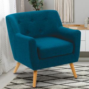 IDMarket Fauteuil scandinave en tissu bleu canard