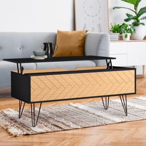 IDMarket Table basse plateau relevable vintage LEONI motifs graphiques